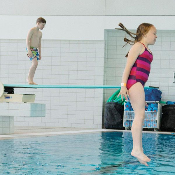 Diving board pool party at Splashpoint Leisure Centre